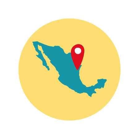 mexican map with pin location block and flat style icon vector illustration design