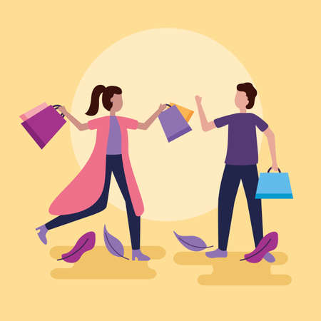 man and woman with shopping bags leaves vector illustration