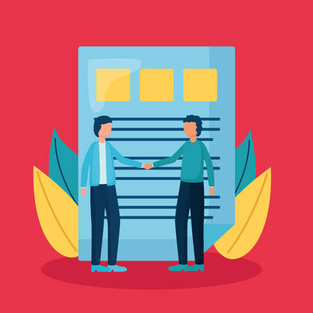 people business handshake document report vector illustration Vettoriali