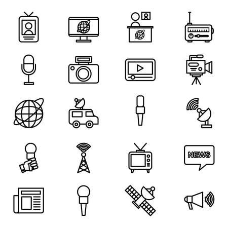 bundle of news broadcasting icons vector illustration design