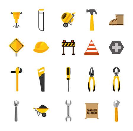bundle of construction tools icons vector illustration design Illusztráció
