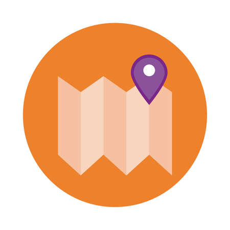 paper map with pin location block style vector illustration design