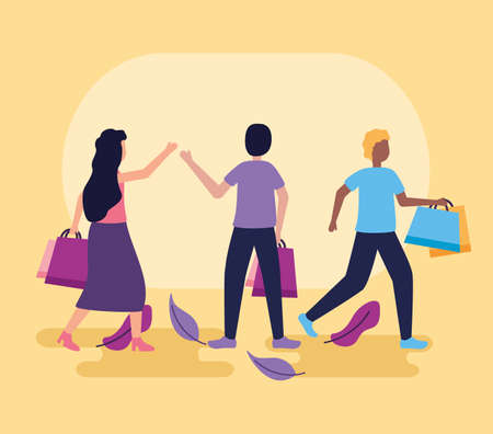 girl and boys holding shopping bags leaves decoration vector illustration