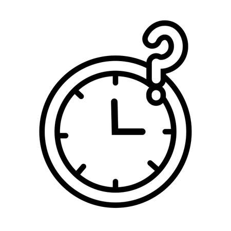 time watch with inerrogation symbol line style vector illustration design