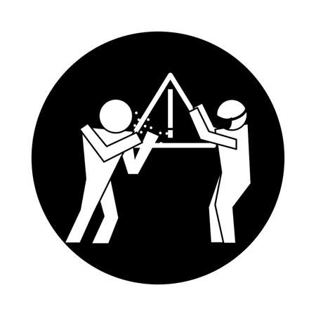 figures using face masks health pictogram block style vector illustration design