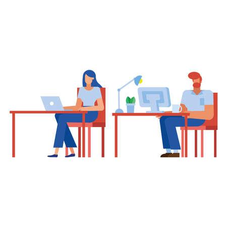 Businessman and businesswoman at desk design, Man woman business management, design, illustration, image corporate job occupation and worker theme Vector illustration