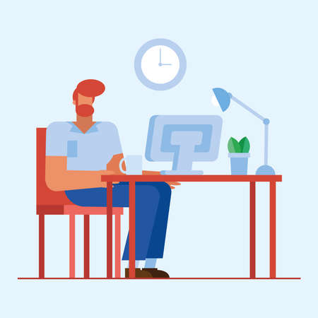 man at desk with computer in the office design, business objects workforce and corporate theme Vector illustration