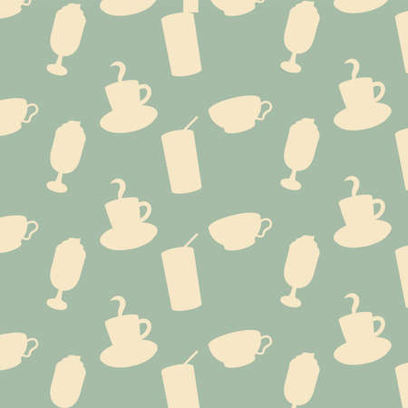iced coffee glasses and cups background design of time drink breakfast beverage shop morning store aroma and caffeine theme Vector illustration Illustration
