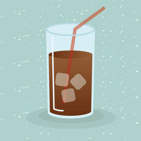 iced coffee glass design of time drink breakfast beverage shop morning store aroma and caffeine theme Vector illustration