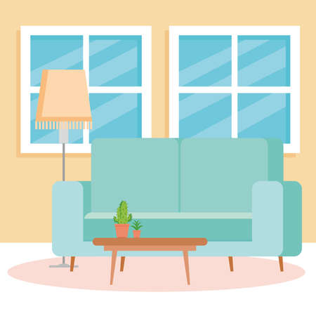 interior of the living room home, with couch, windows and decoration vector illustration design
