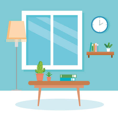 interior of home scene with table, lamp, window and decoration vector illustration design
