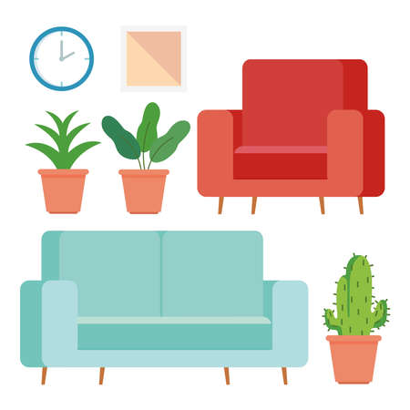 furniture and home accessories icons set vector illustration design