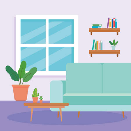 interior of the living room home, with couch, table, pot plant and decoration vector illustration design