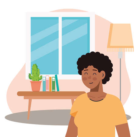 man afro in the living room scene vector illustration design Иллюстрация