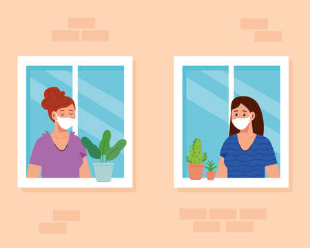 stay home, quarantine or self isolation,house facade with windows and women look out of home, stay safe quarantine concept vector illustration design Ilustração
