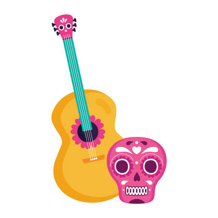 pink mexican skull with guitar, on white background vector illustration design