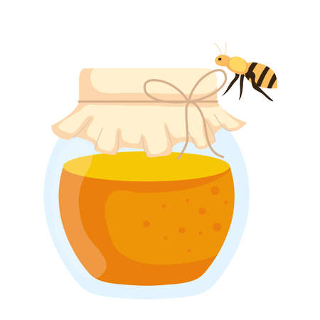 honey jar with bee flying, in white background vector illustration design