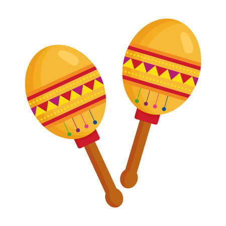 maracas mexican instrument musical on white background vector illustration design Vettoriali