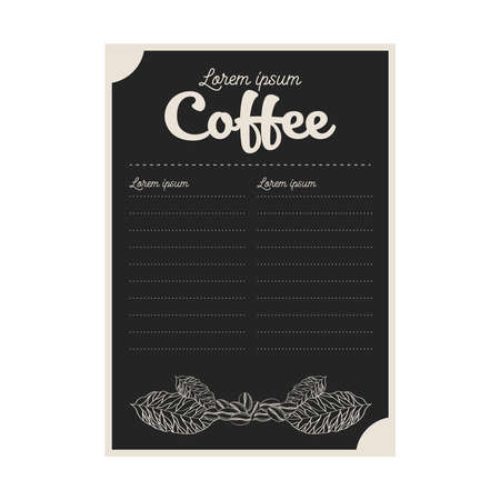 black coffee menu card with leaves and beans design of time drink breakfast beverage shop morning store aroma and caffeine theme Vector illustration