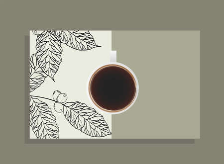 coffee cup on white poster with leaves design of time drink breakfast beverage shop morning store aroma and caffeine theme Vector illustration