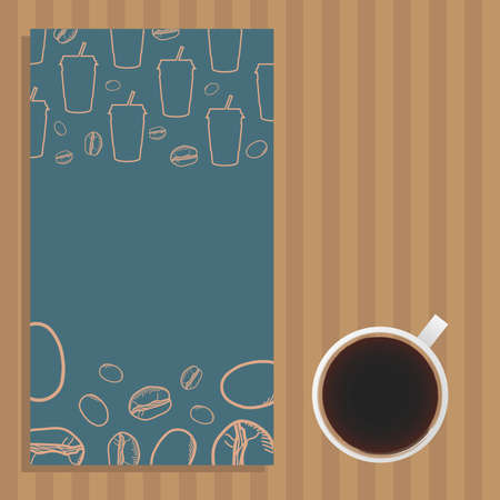 coffee cup and blue poster with mugs and beans design of time drink breakfast beverage shop morning store aroma and caffeine theme Vector illustration