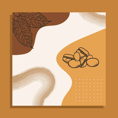 Coffee beans with leaves paper frame design of time drink breakfast beverage shop morning store aroma and caffeine theme Vector illustration