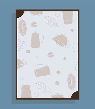 poster with coffee pots cups and leaves design of time drink breakfast beverage shop morning store aroma and caffeine theme Vector illustration Illusztráció