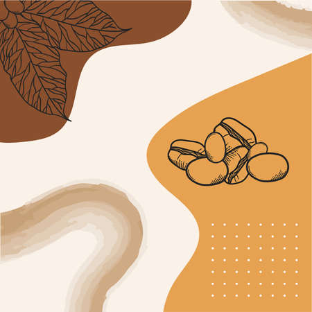 Coffee beans and leaves poster paper design of time drink breakfast beverage shop morning store aroma and caffeine theme Vector illustration