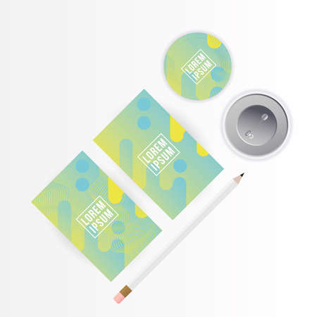 Mockup a4 posters papers pencil and pins design of corporate identity template and branding theme Vector illustration