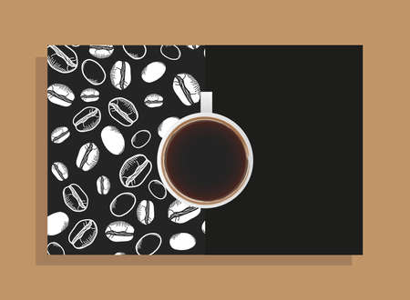coffee cup on black poster with beans design of time drink breakfast beverage shop morning store aroma and caffeine theme Vector illustration