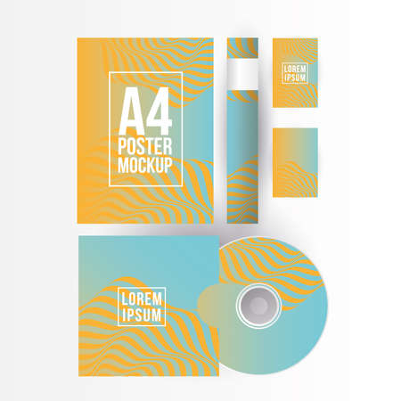 Mockup a4 poster paper cd and cards design of corporate identity template and branding theme Vector illustration Illusztráció