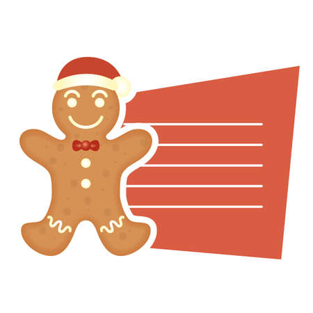 merry christmas sweet ginger cookie with santa hat and card vector illustration design