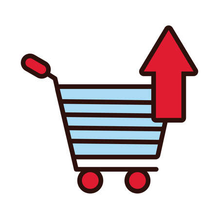 shopping cart with arrow up line and fill style vector illustration design Stock fotó - 155371821