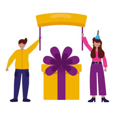 man and woman gift box board birthday celebration vector illustration