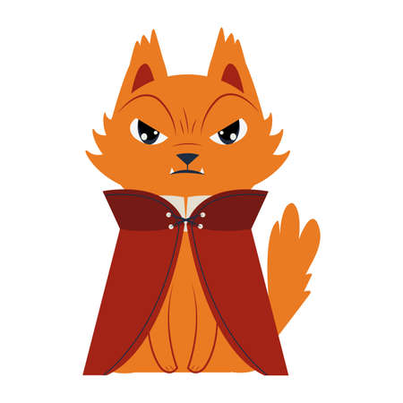 halloween cat mascot with dracula costume vector illustration design