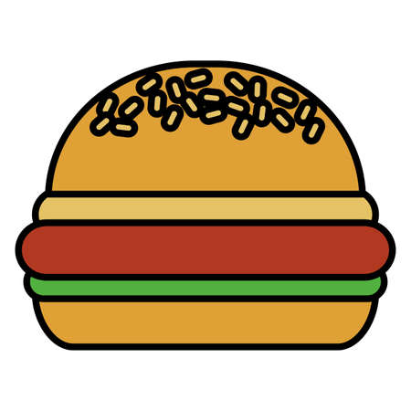 tasty burger on white background vector illustration