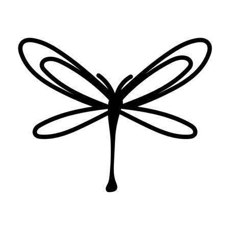 dragon fly insect line style icon vector illustration design Illusztráció