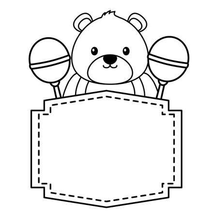 bear and rattles decoration baby shower card vector illustration Illusztráció