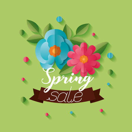 flowers spring sale background vector illustration design Stock fotó - 155372034