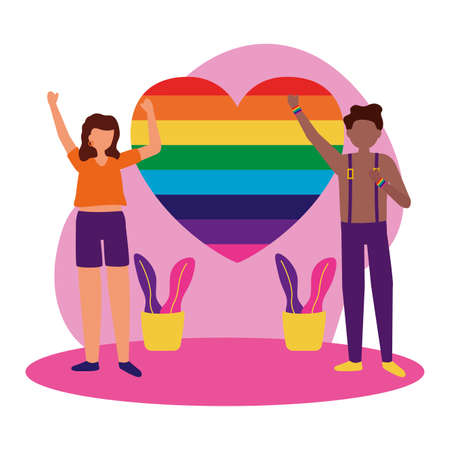 Woman and man cartoon design, Lgtbiq march pride equality freedom love and community theme Vector illustration