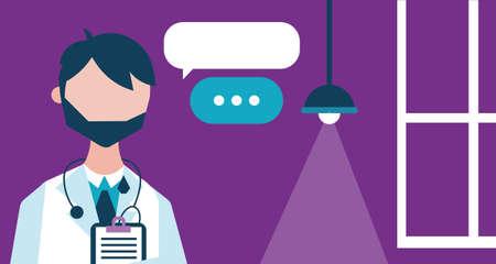 male doctor with checklist character vector illustration design Illusztráció