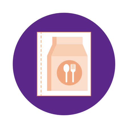 restaurant paper bag block style vector illustration design Stock fotó - 155372226