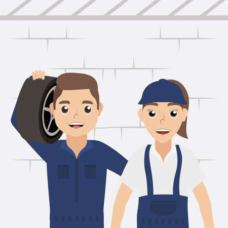 couple of mechanics workers characters vector illustration design
