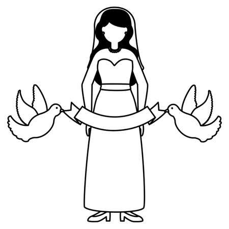 bride wedding day pigeons ribbon vector illustration Stock fotó - 155372425