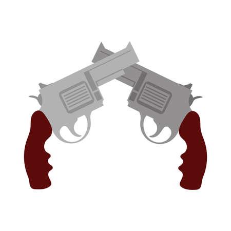 guns crossed flat detailed style vector illustration design Illusztráció