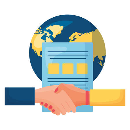 hands business done deal with world planet and document vector illustration