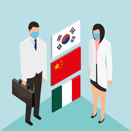 professional doctors using face masks with country flags vector illustration design