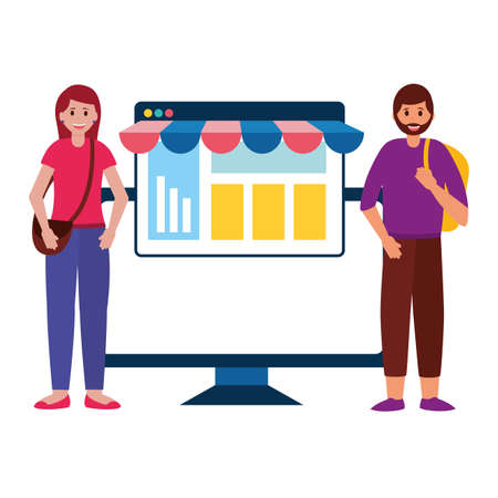 man and woman online shopping commerce computer website vector illustration