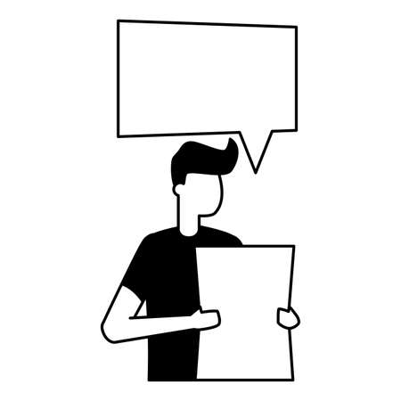 young man holding paper talk bubble vector illustration