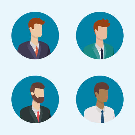 business men characters round icons vector illustration Illusztráció